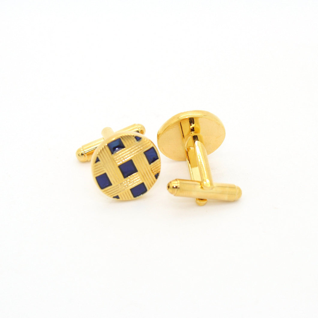 Goldtone Blue Criss Cross Metal Cuff Links With Jewelry Box - Ferrecci USA