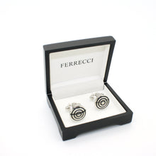 Load image into Gallery viewer, Silvertone Round Cuff Links With Jewelry Box - Ferrecci USA