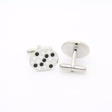 Load image into Gallery viewer, Silvertone Black White Oval Cuff Links With Jewelry Box - Ferrecci USA