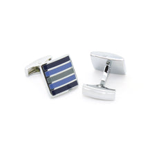 Load image into Gallery viewer, Silvertone Blue Stripe Cuff Links With Jewelry Box - Ferrecci USA