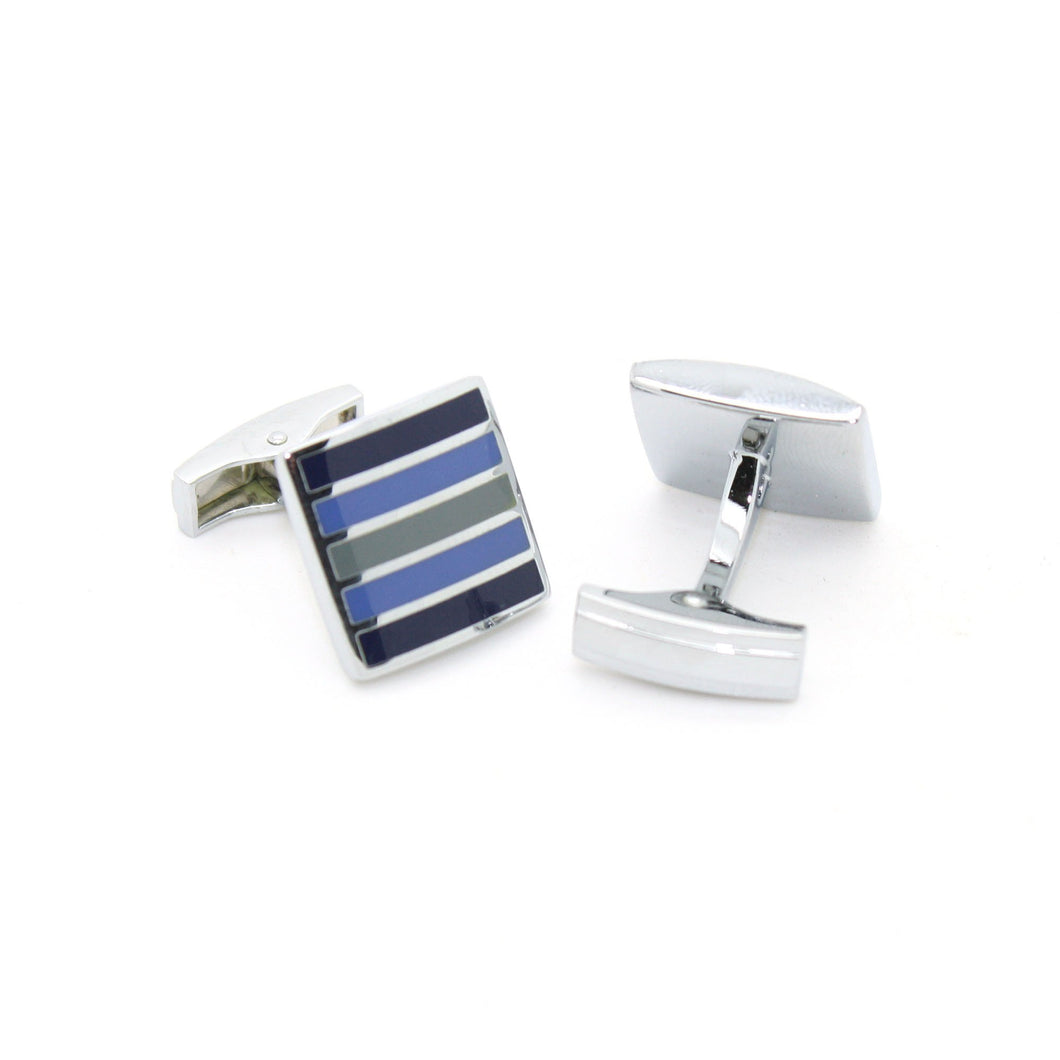 Silvertone Blue Stripe Cuff Links With Jewelry Box - Ferrecci USA