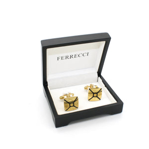 Goldtone Enamel Cuff Links With Jewelry Box - Ferrecci USA