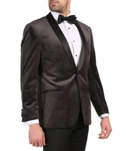 Load image into Gallery viewer, Enzo Grey Slim Fit Velvet Shawl Collar Tuxedo Blazer - Ferrecci USA