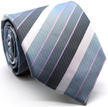 Load image into Gallery viewer, Mens Dads Classic Grey Striped Pattern Business Casual Necktie & Hanky Set EO-6 - Ferrecci USA