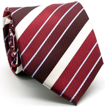 Load image into Gallery viewer, Mens Dads Classic Red Striped Pattern Business Casual Necktie & Hanky Set EO-7 - Ferrecci USA