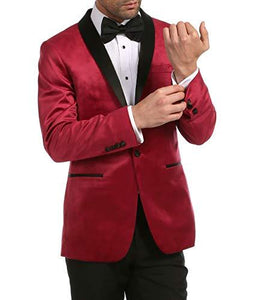 Enzo Maroon Velvet Slim Fit Shawl Lapel Tuxedo Men's Blazer - Ferrecci USA