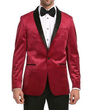 Load image into Gallery viewer, Enzo Maroon Velvet Slim Fit Shawl Lapel Tuxedo Men's Blazer - Ferrecci USA