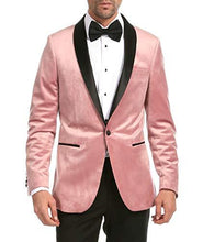Load image into Gallery viewer, Enzo Pink Slim Fit Velvet Shawl Tuxedo Blazer - Ferrecci USA