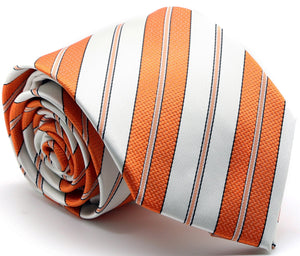 Mens Dads Classic Gold Striped Pattern Business Casual Necktie & Hanky Set F-11 - Ferrecci USA