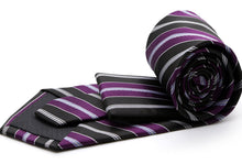 Load image into Gallery viewer, Mens Dads Classic Purple Striped Pattern Business Casual Necktie & Hanky Set F-3 - Ferrecci USA