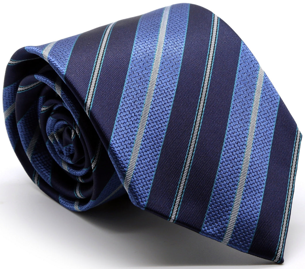 Mens Dads Classic Turquoise Striped Pattern Business Casual Necktie & Hanky Set F-6 - Ferrecci USA