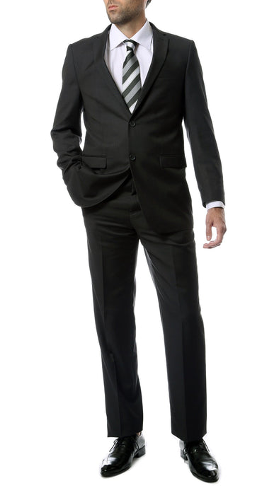 Premium FNL22R Mens 2 Button Regular Fit Charcoal Suit - Ferrecci USA