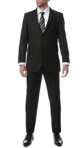 Premium FNL22R Mens 2 Button Regular Fit Black Suit - Ferrecci USA