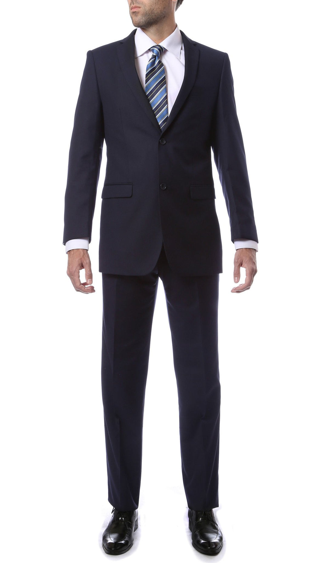 Mens 2 Button Navy Blue Regular Fit Suit - Ferrecci USA