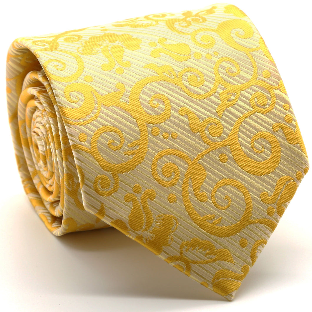 Mens Dads Classic Yellow Paisley Pattern Business Casual Necktie & Hanky Set FO-8 - Ferrecci USA
