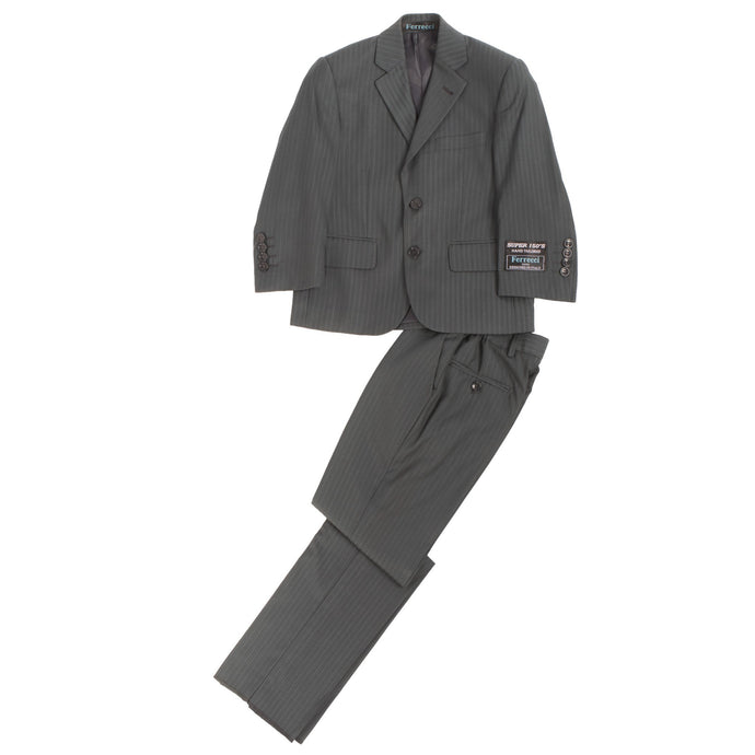 Boys Premium Grey Green Striped 2 Piece Suit - Ferrecci USA