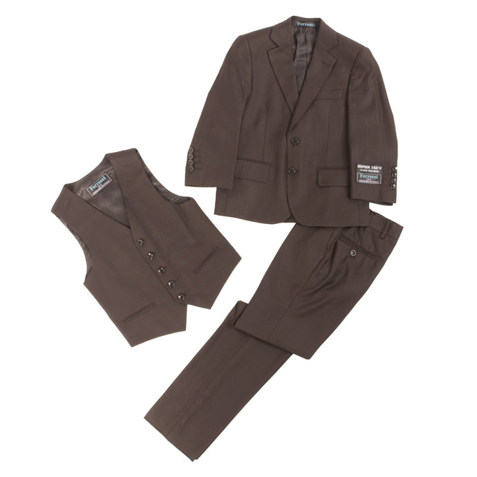 Boys Premium Coffee Brown 3 Piece Vested Suit - Ferrecci USA