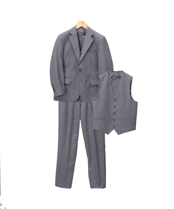 Boys Premium Medium Grey Vested 3 Piece Suit - Ferrecci USA