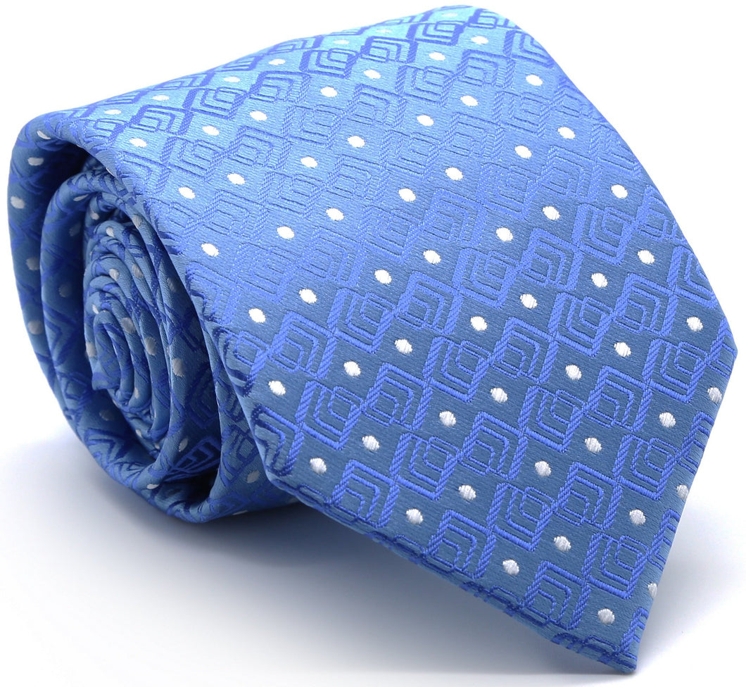 Mens Dads Classic Blue Geometric Pattern Business Casual Necktie & Hanky Set G-9 - Ferrecci USA