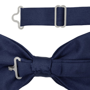 Gia Navy Blue Satine Adjustable Bowtie - Ferrecci USA