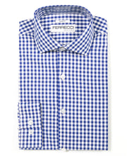 Load image into Gallery viewer, Blue Gingham Check Dress Shirt - Slim Fit - Ferrecci USA
