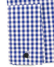 Load image into Gallery viewer, Blue Gingham Check French Cuff Regular Fit Shirt - Ferrecci USA