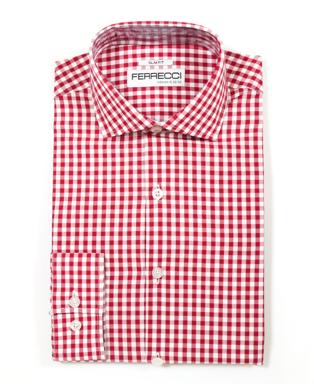 Red Gingham Check Slim Fit Shirt - Ferrecci USA
