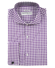 Load image into Gallery viewer, Purple Gingham Check French Cuff Regular Fit Shirt - Ferrecci USA