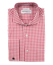 Load image into Gallery viewer, Red Gingham Check French Cuff Regular Fit Shirt - Ferrecci USA