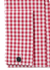 Red Gingham Check French Cuff Regular Fit Shirt - Ferrecci USA