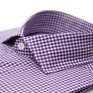 Purple Gingham Check French Cuff Regular Fit Shirt - Ferrecci USA