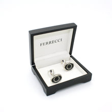 Load image into Gallery viewer, Silvertone Evil Eye Glass Stone Cuff Links With Jewelry Box - Ferrecci USA
