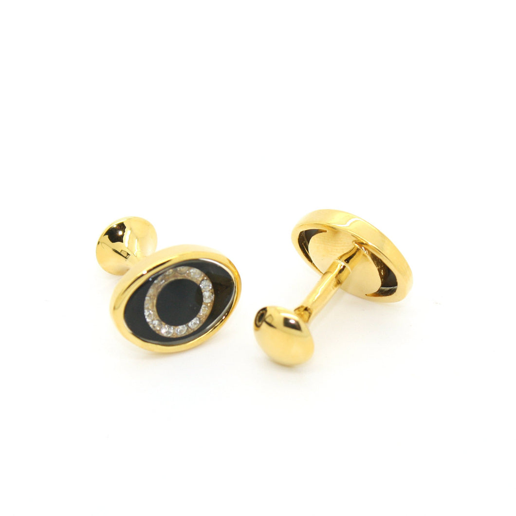 Goldtone Evil Eye Glass Stone Cuff Links With Jewelry Box - Ferrecci USA