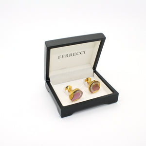 Goldtone Purple Glass Cuff Links With Jewelry Box - Ferrecci USA
