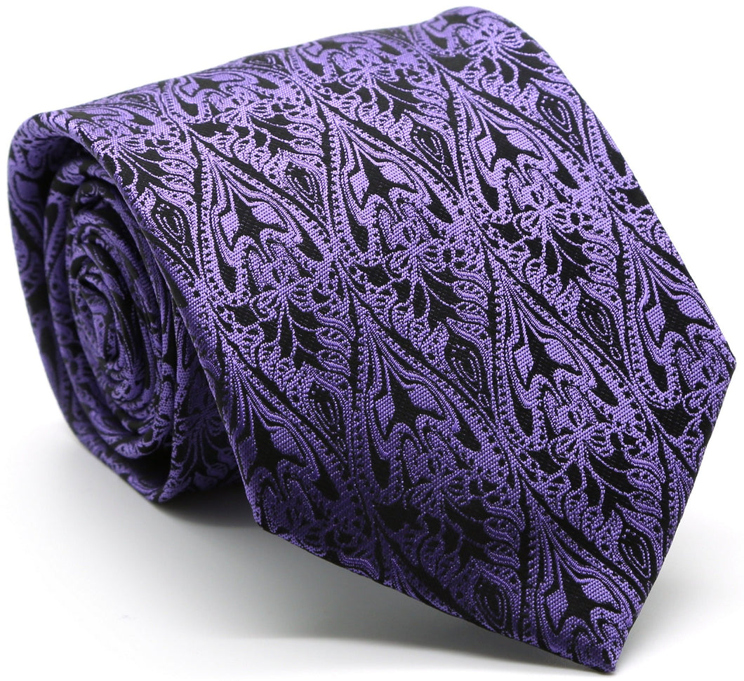 Mens Dads Classic Purple Paisley Pattern Business Casual Necktie & Hanky Set GO-6 - Ferrecci USA