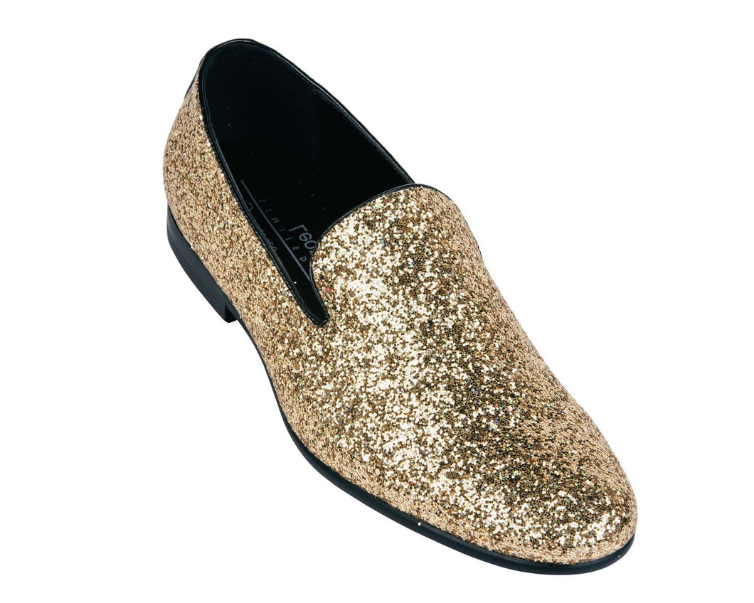 Sparkle Slip On Men's  Shoes Color Gold