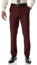 Load image into Gallery viewer, Ferrecci Men's Halo Burgundy Slim Fit Flat-Front Dress Pants - Ferrecci USA