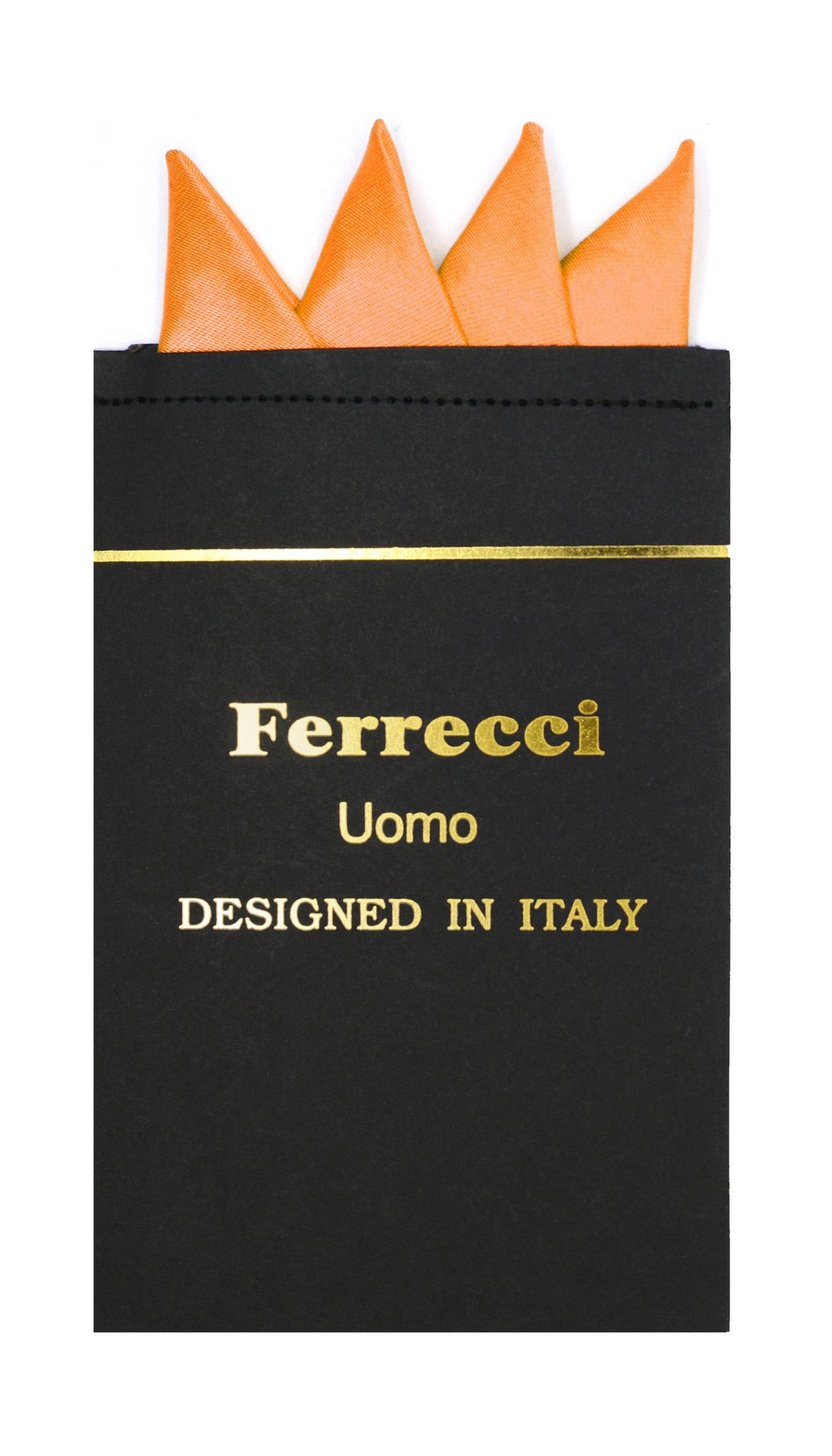 Pre-Folded Microfiber Orange Handkerchief Pocket Square - Ferrecci USA