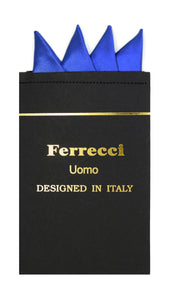 Pre-Folded Microfiber Royal Blue Handkerchief Pocket Square - Ferrecci USA
