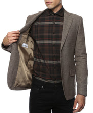 Load image into Gallery viewer, The Hardy Brown Herringbone Super Slim Fit Mens Blazer - Ferrecci USA