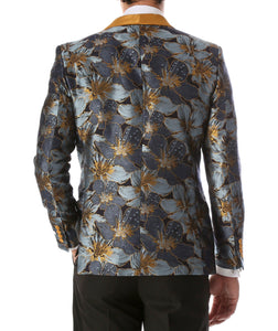 Men's Blue Hugo Floral Modern Fit Shawl Collar Tuxedo Blazer - Ferrecci USA
