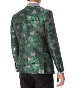 Men's Hugo Green Floral Modern Fit Shawl Collar Tuxedo Blazer - Ferrecci USA