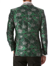 Load image into Gallery viewer, Men's Hugo Green Floral Modern Fit Shawl Collar Tuxedo Blazer - Ferrecci USA