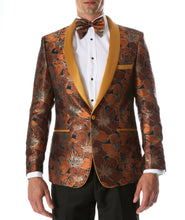 Load image into Gallery viewer, Men's Hugo Rust Floral Modern Fit Shawl Collar Tuxedo Blazer - Ferrecci USA