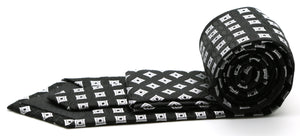 Mens Dads Classic Black Geometric Pattern Business Casual Necktie & Hanky Set I-1 - Ferrecci USA