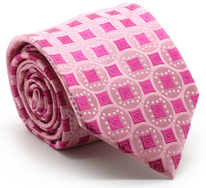 Mens Dads Classic Fuchsia Geometric Pattern Business Casual Necktie & Hanky Set I-7 - Ferrecci USA