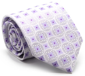 Mens Dads Classic Purple Geometric Pattern Business Casual Necktie & Hanky Set I-9 - Ferrecci USA