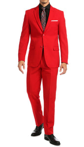 Paul Lorenzo Mens Red Slim Fit 2 Piece Suit - Ferrecci USA