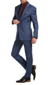 Mason Slate Men's Premium 2 Piece Wool Slim Fit Suit - Ferrecci USA