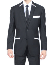 Load image into Gallery viewer, The JerseyBoy Black White Slim Fit Mens Blazer - Ferrecci USA